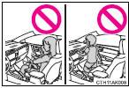 ●Ne vous appuyez pas contre la porte, le rail latéral de toit ou contre les montants