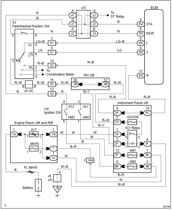 toyota corolla repair manual  circuit description  neutral switch input circuit